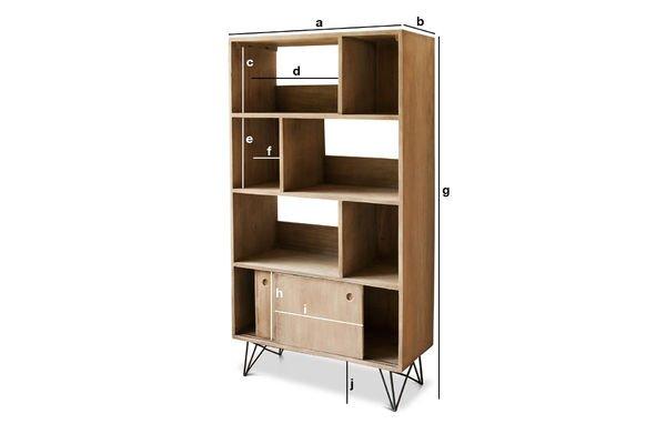 Productafmetingen Zurich houten boekenkast