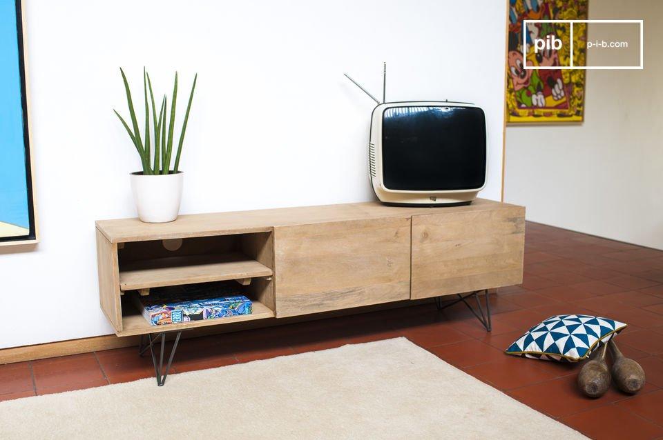 Zurich houten tv meubel donker metalen poten licht hout pib