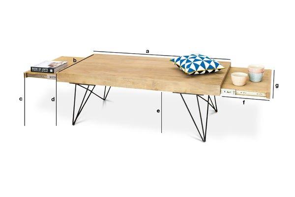 Productafmetingen Zurich verlengbare salontafel