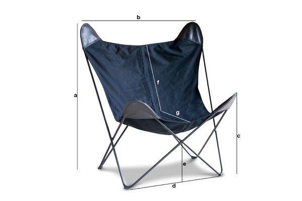 Productafmetingen Zwart Colina canvas fauteuil